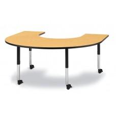 "Berries® Horseshoe Activity Table - 66"" X 60"", Mobile - Oak/Black/Black"