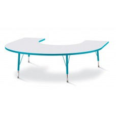 """Berries® Horseshoe Activity Table - 66"""" X 60"""", T-height - Gray/Teal/Teal"""