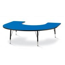 "Berries® Horseshoe Activity Table - 66"" X 60"", T-height - Blue/Black/Black"