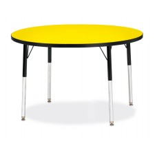 "Berries® Round Activity Table - 42"" Diameter, A-height - Yellow/Black/Black"