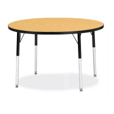 "Berries® Round Activity Table - 42"" Diameter, A-height - Oak/Black/Black"