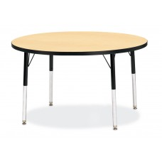 "Berries® Round Activity Table - 42"" Diameter, E-height - Maple/Black/Black"