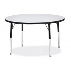 "Berries® Round Activity Table - 42"" Diameter, E-height - Gray/Black/Black"