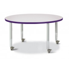"Berries® Round Activity Table - 42"" Diameter, Mobile - Gray/Purple/Gray"
