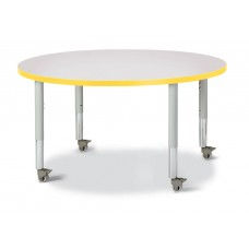 "Berries® Round Activity Table - 42"" Diameter, Mobile - Gray/Yellow/Gray"