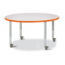 "Berries® Round Activity Table - 42"" Diameter, Mobile - Gray/Orange/Gray"
