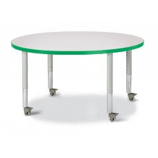 "Berries® Round Activity Table - 42"" Diameter, Mobile - Gray/Green/Gray"