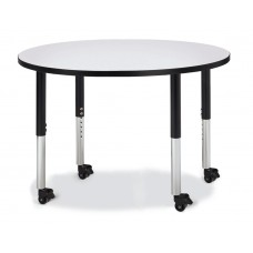 "Berries® Round Activity Table - 42"" Diameter, Mobile - Gray/Black/Black"