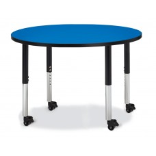 "Berries® Round Activity Table - 42"" Diameter, Mobile - Blue/Black/Black"