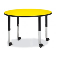 "Berries® Round Activity Table - 42"" Diameter, Mobile - Yellow/Black/Black"