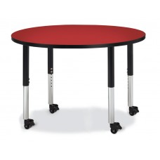 "Berries® Round Activity Table - 42"" Diameter, Mobile - Red/Black/Black"