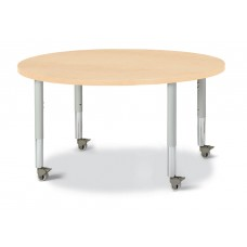 "Berries® Round Activity Table - 42"" Diameter, Mobile - Maple/Maple/Gray"
