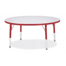 "Berries® Round Activity Table - 42"" Diameter, T-height - Gray/Red/Red"
