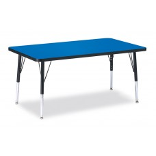 """Berries® Rectangle Activity Table - 30"""" X 48"""", E-height - Blue/Black/Black"""