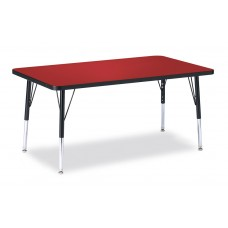 """Berries® Rectangle Activity Table - 30"""" X 48"""", E-height - Red/Black/Black"""