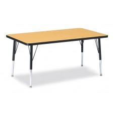 "Berries® Rectangle Activity Table - 30"" X 48"", E-height - Oak/Black/Black"