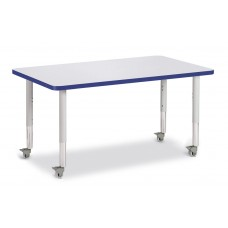 """Berries® Rectangle Activity Table - 30"""" X 48"""", Mobile - Gray/Blue/Gray"""