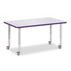 """Berries® Rectangle Activity Table - 30"""" X 48"""", Mobile - Gray/Purple/Gray"""