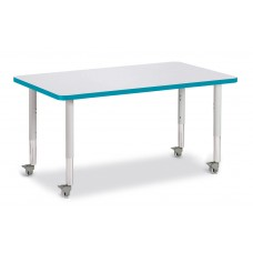 """Berries® Rectangle Activity Table - 30"""" X 48"""", Mobile - Gray/Teal/Gray"""