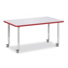 """Berries® Rectangle Activity Table - 30"""" X 48"""", Mobile - Gray/Red/Gray"""
