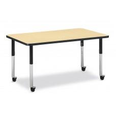 "Berries® Rectangle Activity Table - 30"" X 48"", Mobile - Maple/Black/Black"