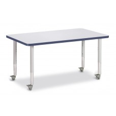 """Berries® Rectangle Activity Table - 30"""" X 48"""", Mobile - Gray/Navy/Gray"""