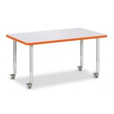 "Berries® Rectangle Activity Table - 30"" X 48"", Mobile - Gray/Orange/Gray"