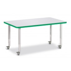 """Berries® Rectangle Activity Table - 30"""" X 48"""", Mobile - Gray/Green/Gray"""