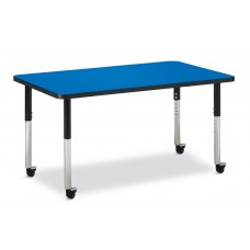 "Berries® Rectangle Activity Table - 30"" X 48"", Mobile - Blue/Black/Black"