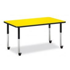 "Berries® Rectangle Activity Table - 30"" X 48"", Mobile - Yellow/Black/Black"