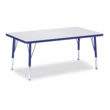"""Berries® Rectangle Activity Table - 30"""" X 48"""", T-height - Gray/Blue/Blue"""