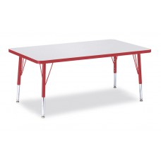 """Berries® Rectangle Activity Table - 30"""" X 48"""", T-height - Gray/Red/Red"""