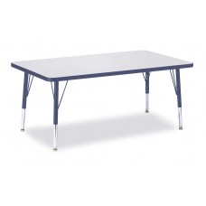 """Berries® Rectangle Activity Table - 30"""" X 48"""", T-height - Gray/Navy/Navy"""
