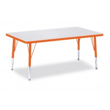 """Berries® Rectangle Activity Table - 30"""" X 48"""", T-height - Gray/Orange/Orange"""