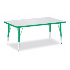 """Berries® Rectangle Activity Table - 30"""" X 48"""", T-height - Gray/Green/Green"""