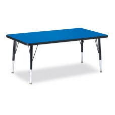 """Berries® Rectangle Activity Table - 30"""" X 48"""", T-height - Blue/Black/Black"""