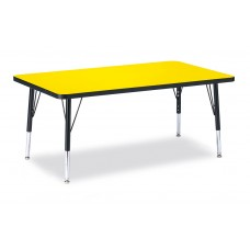"""Berries® Rectangle Activity Table - 30"""" X 48"""", T-height - Yellow/Black/Black"""