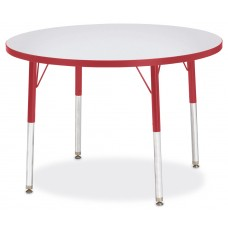 "Berries® Round Activity Table - 36"" Diameter, A-height - Gray/Red/Red"
