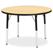 "Berries® Round Activity Table - 36"" Diameter, A-height - Maple/Black/Black"