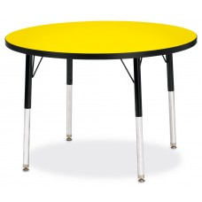 "Berries® Round Activity Table - 36"" Diameter, A-height - Yellow/Black/Black"