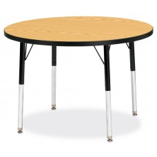 "Berries® Round Activity Table - 36"" Diameter, A-height - Oak/Black/Black"