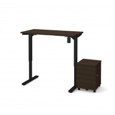 "Bestar 2 Piece 24"" x 48"" Electric Height adjustable table and Mobile filing cabinet in Dark Chocolate"