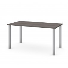 """Bestar 30"""" x 60"""" Table with square metal legs in Bark Gray"""