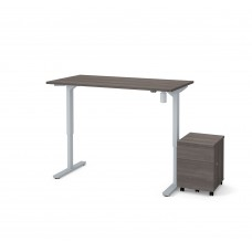 "Bestar 2 Piece 30"" x 60"" Electric Height adjustable table and Mobile filing cabinet in Bark Gray"