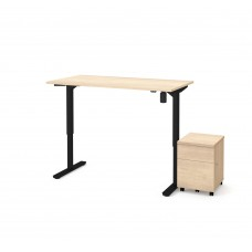 "Bestar 2 Piece 30"" x 60"" Electric Height adjustable table and Mobile filing cabinet in Northern Maple"