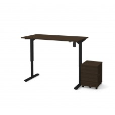 "Bestar 2 Piece 30"" x 60"" Electric Height adjustable table and Mobile filing cabinet in Dark Chocolate"