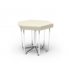 Hex Series Stool with Chrome Frame, Linen