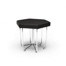 Hex Series Stool with Chrome Frame, Midnight
