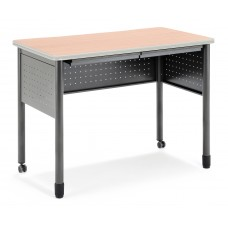 """OFM Mesa Series Mobile Standing Height Desk with Drawers, 27"""" x 47"""", Maple"""
