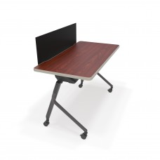 """Mesa Series Nesting Training Table/Desk with Privacy Panel 23.50"""" x 47.25"""", Cherry/Black"""